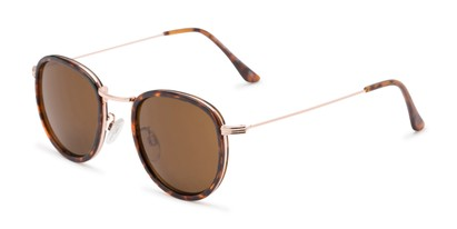 Angle of The Foley Reading Sunglasses in Tortoise/Gold with Amber, Women's and Men's Round Reading Sunglasses