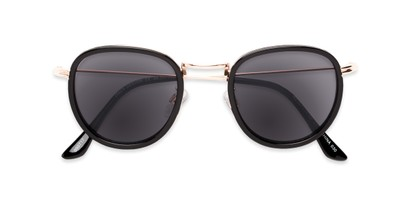 Folded of The Foley Reading Sunglasses in Black/Gold with Smoke