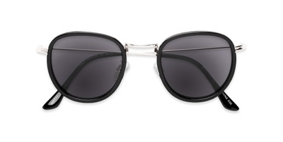 Folded of The Foley Reading Sunglasses in Black/Silver with Smoke