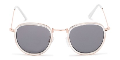 Front of The Foley Reading Sunglasses in Clear/Gold with Smoke