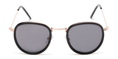 Front of The Foley Reading Sunglasses in Black/Gold with Smoke