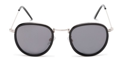 Front of The Foley Reading Sunglasses in Black/Silver with Smoke