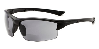 Angle of The Foster Bifocal Reading Sunglasses in Matte Black with Smoke, Women's and Men's Sport & Wrap-Around Reading Sunglasses