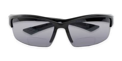 Folded of The Foster Bifocal Reading Sunglasses in Glossy Black with Smoke