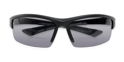 Folded of The Foster Bifocal Reading Sunglasses in Matte Black with Smoke