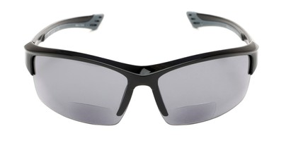 Front of The Foster Bifocal Reading Sunglasses in Glossy Black with Smoke