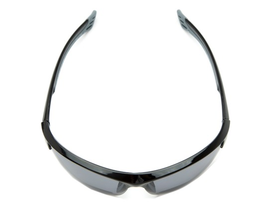 Overhead of The Foster Bifocal Reading Sunglasses in Glossy Black with Smoke