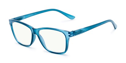 Angle of The Francis Computer Reader in Blue, Women's and Men's Retro Square Reading Glasses