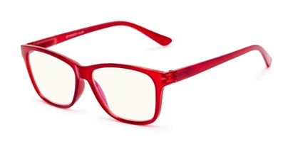 Angle of The Francis Computer Reader in Red, Women's and Men's Retro Square Reading Glasses