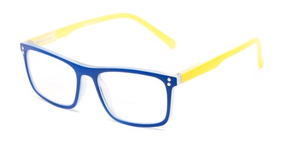Angle of The Frannie Bifocal in Cobalt Blue/Yellow, Women's Rectangle Reading Glasses
