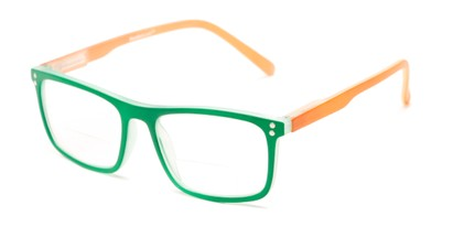 Angle of The Frannie Bifocal in Green/Orange, Women's Rectangle Reading Glasses