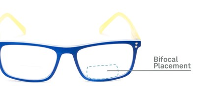 Detail of The Frannie Bifocal in Cobalt Blue/Yellow