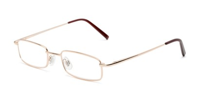 Angle of The Freeland in Glossy Gold, Women's and Men's Rectangle Reading Glasses