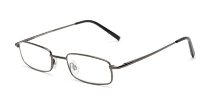 Angle of The Freeland in Glossy Grey, Women's and Men's Rectangle Reading Glasses