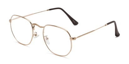 Angle of The Frenchie in Gold, Women's and Men's Round Reading Glasses