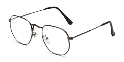 Angle of The Frenchie in Grey, Women's and Men's Round Reading Glasses