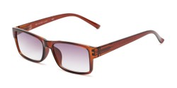 Angle of The Fuller Reading Sunglasses in Glossy Brown with Smoke, Women's and Men's Rectangle Reading Sunglasses