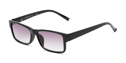 Angle of The Fuller Reading Sunglasses in Glossy Black with Smoke, Women's and Men's Rectangle Reading Sunglasses