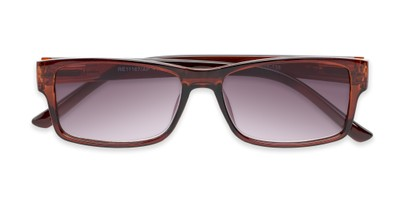 Folded of The Fuller Reading Sunglasses in Glossy Brown with Smoke