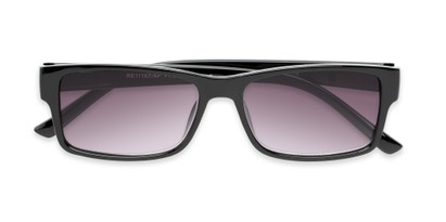 Folded of The Fuller Reading Sunglasses in Glossy Black with Smoke
