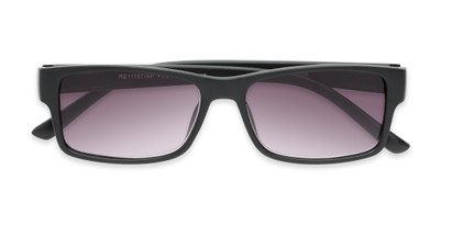 Folded of The Fuller Reading Sunglasses in Matte Black with Smoke