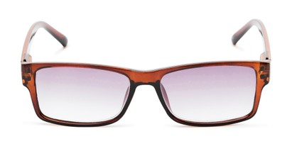 Front of The Fuller Reading Sunglasses in Glossy Brown with Smoke