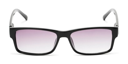 Front of The Fuller Reading Sunglasses in Glossy Black with Smoke