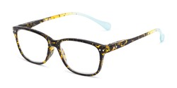 Angle of The Garden in Tortoise/Teal, Women's and Men's Retro Square Reading Glasses