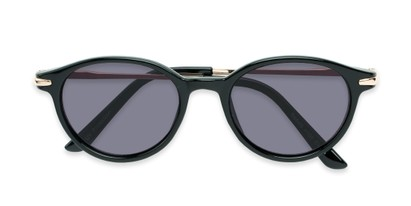 Folded of The Geller Reading Sunglasses in Black/Gold with Smoke