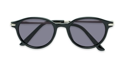 Folded of The Geller Reading Sunglasses in Black/Silver with Smoke