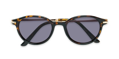 Folded of The Geller Reading Sunglasses in Tortoise/Gold with Smoke