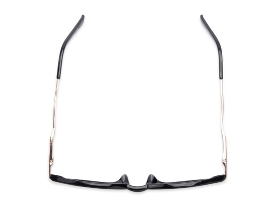 Overhead of The Geller Reading Sunglasses in Black/Gold with Smoke