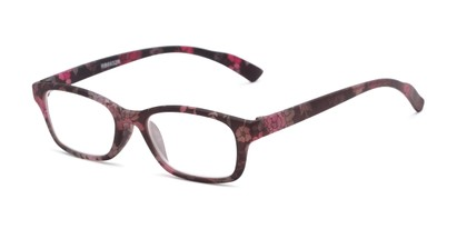 Angle of The Gemma in Black Floral, Women's Rectangle Reading Glasses