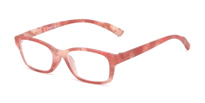 Angle of The Gemma in Brown Floral, Women's Rectangle Reading Glasses