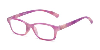 Angle of The Gemma in Pink Floral, Women's Rectangle Reading Glasses