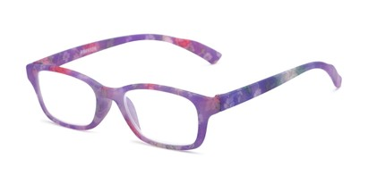 Angle of The Gemma in Purple Floral, Women's Rectangle Reading Glasses