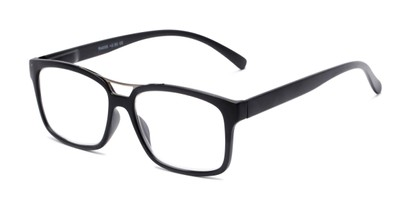 Angle of The Geoff in Black, Women's and Men's Rectangle Reading Glasses