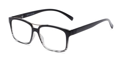 Angle of The Geoff in Black Striped, Women's and Men's Rectangle Reading Glasses