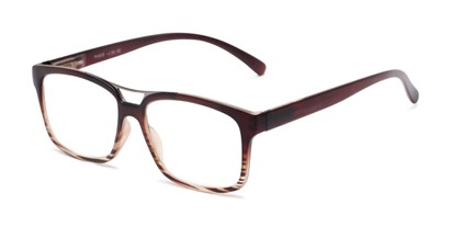 Angle of The Geoff in Brown Striped, Women's and Men's Rectangle Reading Glasses