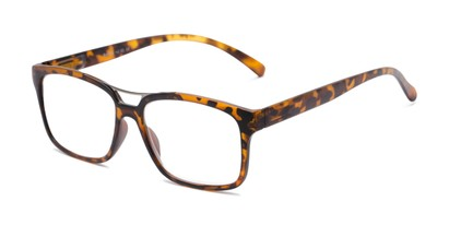 Angle of The Geoff in Tortoise, Women's and Men's Rectangle Reading Glasses