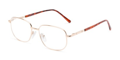 Angle of The Georgetown in Gold, Women's and Men's Square Reading Glasses