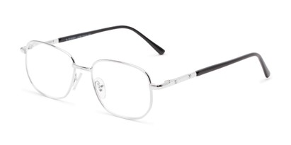 Angle of The Georgetown in Silver, Women's and Men's Square Reading Glasses