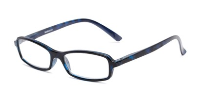 Angle of The Gleela in Blue, Women's and Men's Rectangle Reading Glasses