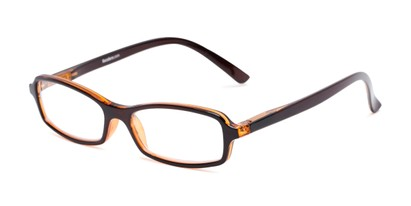 Angle of The Gleela in Brown, Women's and Men's Rectangle Reading Glasses