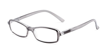Angle of The Gleela in Clear Grey, Women's and Men's Rectangle Reading Glasses