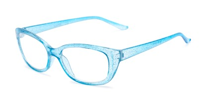 Angle of The Glitzy in Light Blue, Women's Cat Eye Reading Glasses