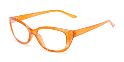Angle of The Glitzy in Orange, Women's Cat Eye Reading Glasses