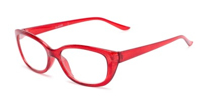 Angle of The Glitzy in Red, Women's Cat Eye Reading Glasses
