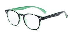 Angle of The Glory in Black Stars/Green, Women's Round Reading Glasses