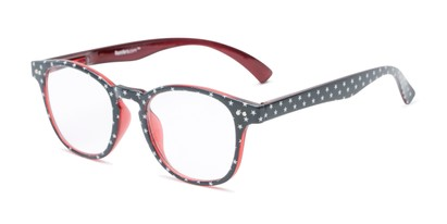 Angle of The Glory in Grey Stars/Red, Women's Round Reading Glasses